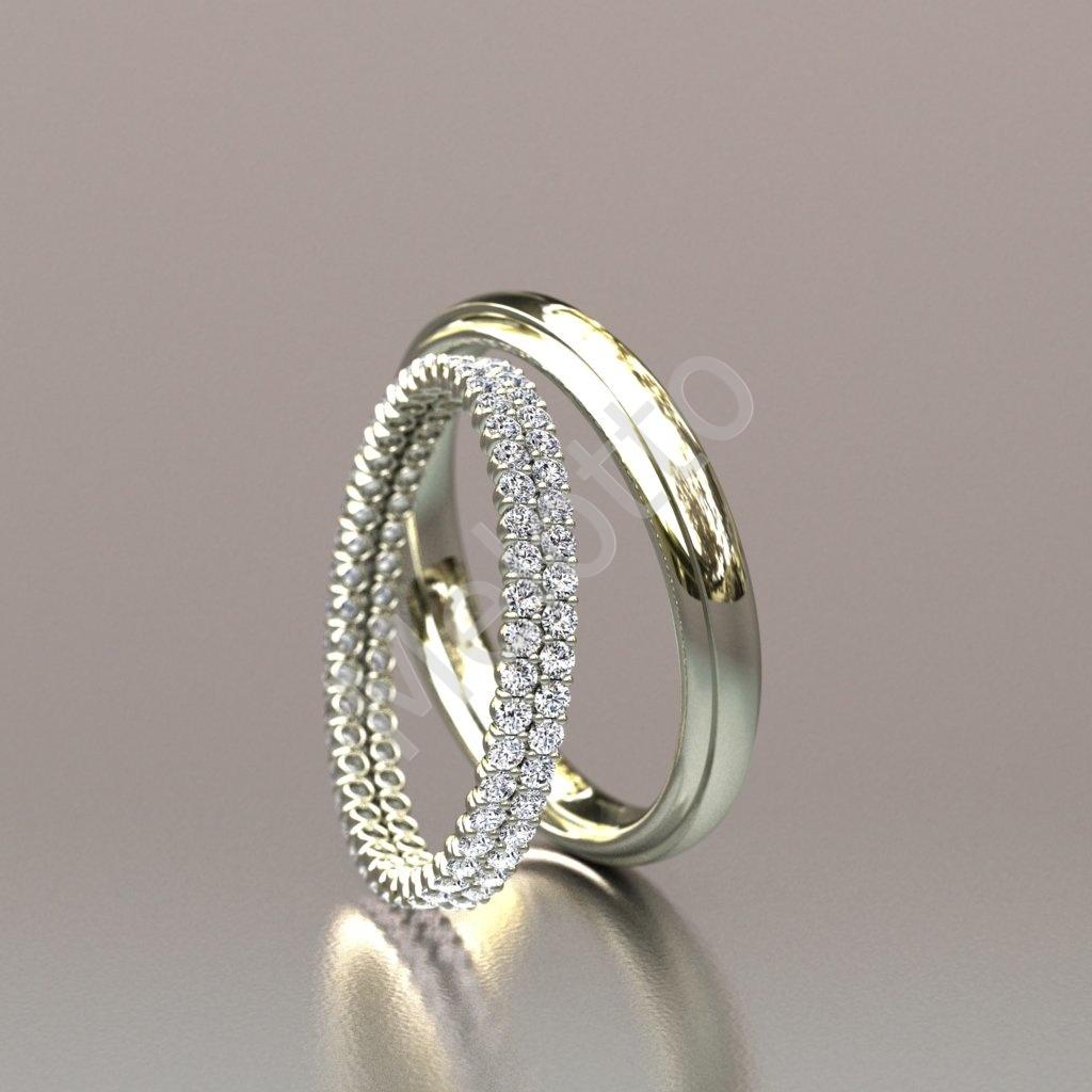 Нежные обручальные кольца из белого золота с бриллиантами 94000₽ ebd1312458e