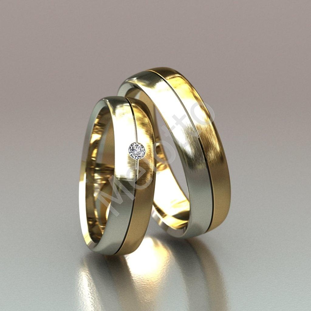 Парные двухцветные обручальные кольца из матового золота 38300 руб. 584df329e5d